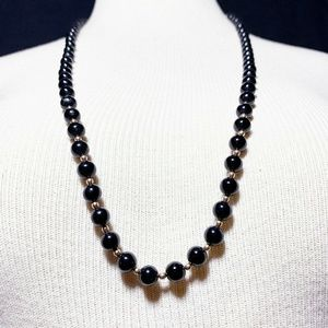 Vintage Onyx Black French Jet Bead Necklace